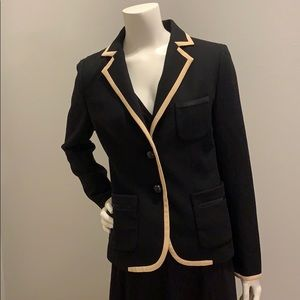 J. Crew black wool with beige silk piping